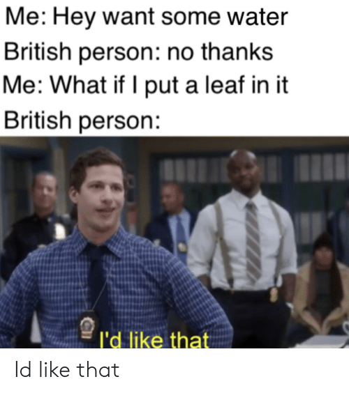 Water, British, and Leaf: Me: Hey want some water  British person: no thanks  Me: What if I put a leaf in it  British person:  l'd like that Id like that