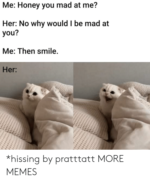 I Be: Me: Honey you mad at me?  Her: No why would I be mad at  you?  Me: Then smile.  Her: *hissing by pratttatt MORE MEMES