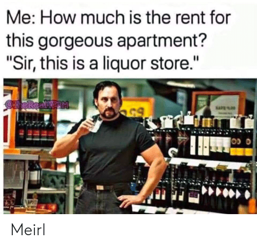 """Gorgeous, Liquor Store, and MeIRL: Me: How much is the rent for  this gorgeous apartment?  """"Sir, this is a liquor store.""""  OneReamp M  65 Meirl"""