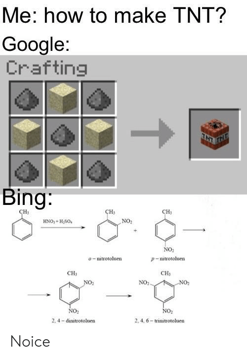 4 6: Me: how to make TNT?  Google:  Crafting  TNT  Bing:  сн,  CH  сH  NO:  HNO+H,SO  No  o-mitrotoluen  P-nitrotoluen  CH  CH  NO:.  NO:  NO2  NO  2, 4,6-trinitrotoluen  2.4 dinitrotoluen Noice