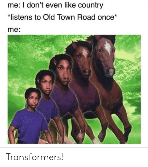 Transformers, Old, and Once: me: I don't even like country  listens to Old Town Road once*  me: Transformers!