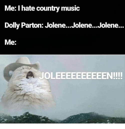 Music, Country Music, and Dolly Parton: Me: I hate country music  Dolly Parton: Jolene...Jolene...Jolene...  Me:  JOLEEEEEEEEEEN!!!!