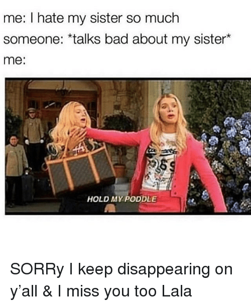 Bad, Sorry, and Girl Memes: me: I hate my sister so much  someone: *talks bad about my sister*  me:  HOLD MY PODDLE SORRy I keep disappearing on y'all & I miss you too Lala