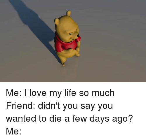 Me I Love My Life So Much Friend Didnt You Say You Wanted To Die A