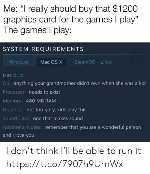 "And I Love You: Me: ""I really should buy that $1200  graphics card for the games I play""  The games play:  SYSTEM REQUIREMENTS  SteamOS Linux  Windows  Mac OS X  MINIMUM:  OS: anything your grandmother didn't own when she was a kid  Processor: needs to exist  Memory: 480 MB RAM  Graphics: not too gory, kids play this  Sound Card: one that makes sound  Additional Notes: remember that you are a wonderful person  and I love you I don't think I'll be able to run it https://t.co/7907h9UmWx"