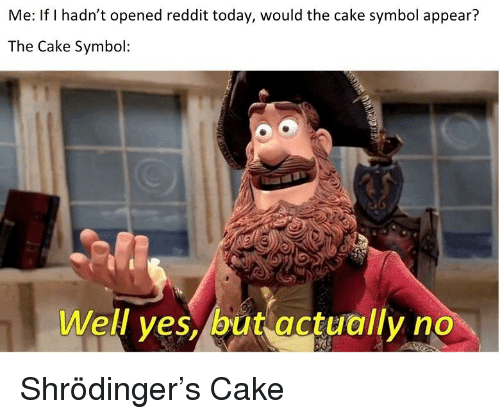 Reddit, Cake, and Today: Me: If I hadn't opened reddit today, would the cake symbol appear?  The Cake Symbol:  Well ves, but gctually no