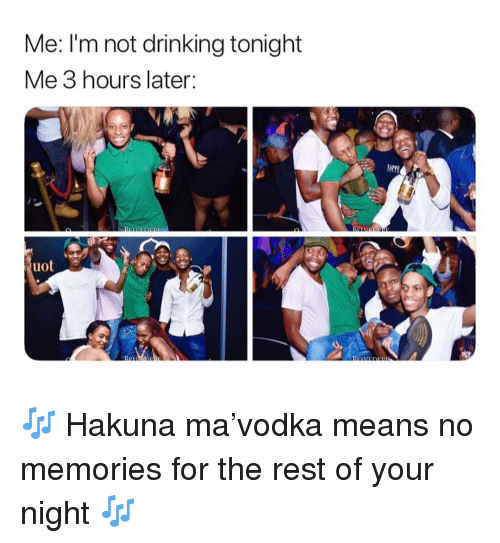 Drinking, Memes, and 🤖: Me: I'm not drinking tonight  Me 3 hours later:  OPP  uot 🎶 Hakuna ma'vodka means no memories for the rest of your night 🎶