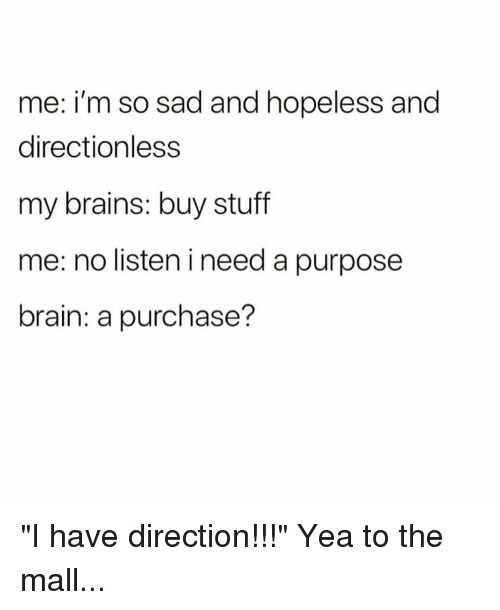 "Brains, Brain, and Stuff: me: i'm so sad and hopeless and  directionless  my brains: buy stuff  me: no listen i need a purpose  brain: a purchase? ""I have direction!!!"" Yea to the mall..."