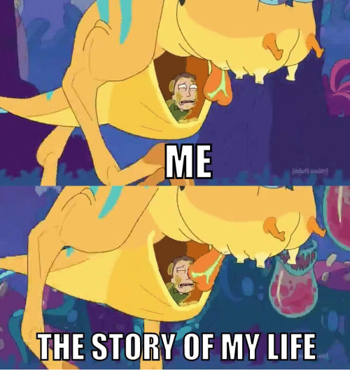 the story of my life: ME  imlull swiml  THE STORY OF MY LIFE  un