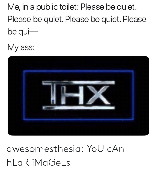 Ass, Tumblr, and Blog: Me, in a public toilet: Please be quiet  Please be quiet. Please be quiet. Please  be qui  My ass:  THX  ΗΧ awesomesthesia:  YoU cAnT hEaR iMaGeEs