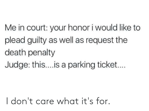 Death, Judge, and Death Penalty: Me in court: your honor i would like to  plead guilty as well as request the  death penalty  Judge: this...is a parking ticket.. I don't care what it's for.