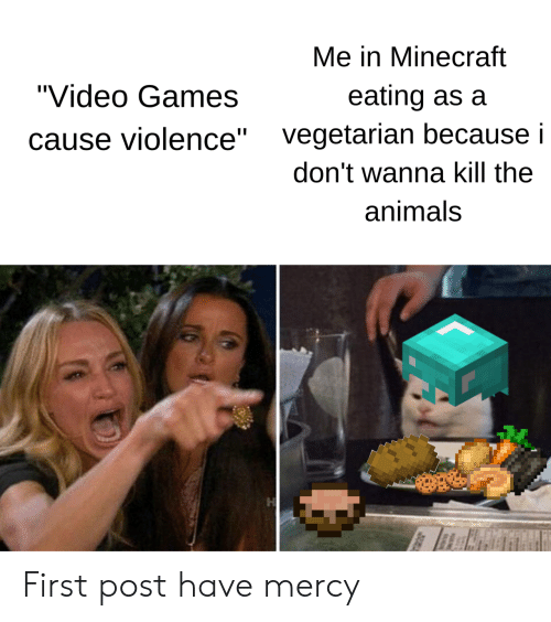 """Animals, Minecraft, and Video Games: Me in Minecraft  """"Video Games  eating as a  vegetarian because i  ause violence""""  don't wanna kill the  animals First post have mercy"""