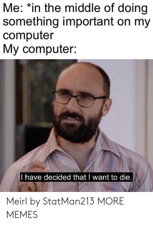 Dank, Memes, and Target: Me: *in the middle of doing  something important on my  computer  My computer:  I have decided that I want to die Meirl by StatMan213 MORE MEMES