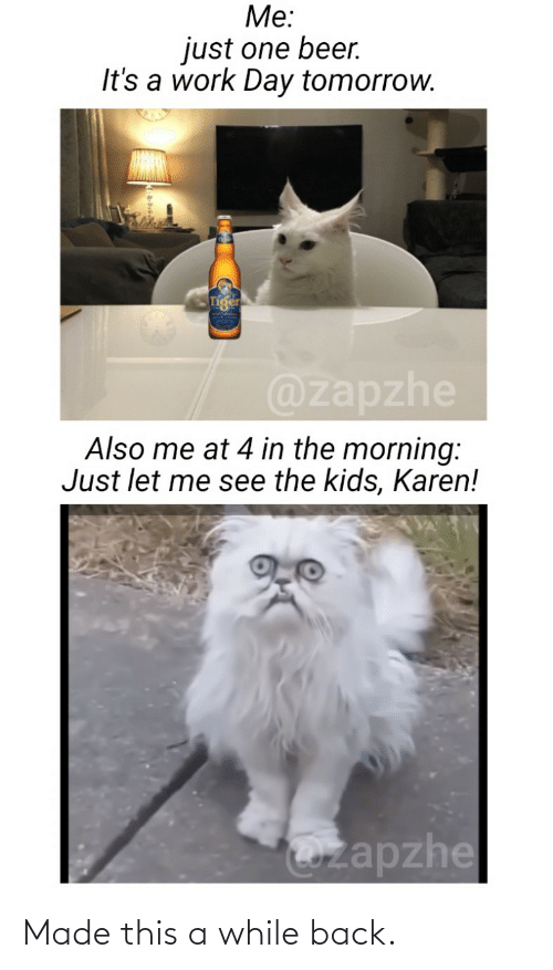 One Beer: Me:  just one beer.  It's a work Day tomorrow.  @zapzhe  Also me at 4 in the morning:  Just let me see the kids, Karen!  Ozapzhe Made this a while back.