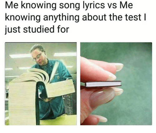 Lyrics, Song Lyrics, and Test: Me knowing song lyrics vs Me  knowing anything about the test l  just studied for  0