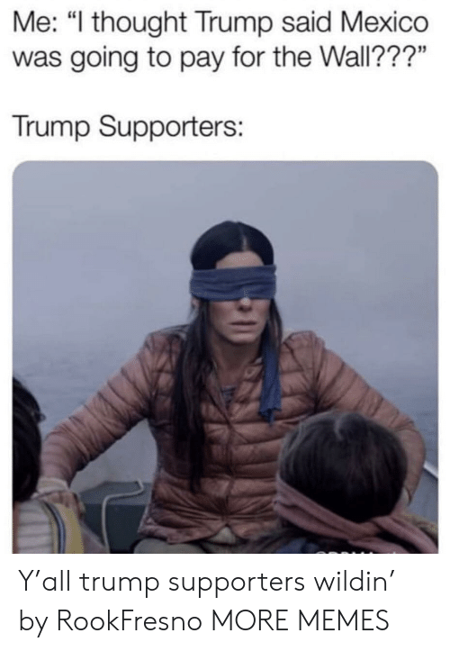 """Trump Supporters: Me: """"l thought Trump said Mexico  was going to pay for the Wall???""""  Trump Supporters: Y'all trump supporters wildin' by RookFresno MORE MEMES"""