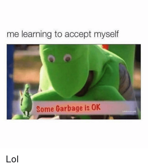 Lol, Girl Memes, and Garbage: me learning to accept myself  Some Garbage is OK Lol