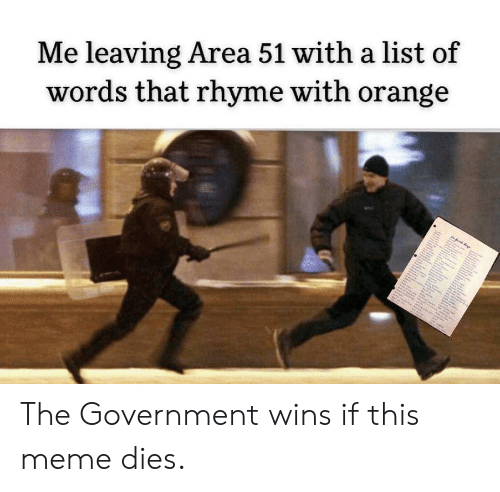 Meme, Orange, and Government: Me leaving Area 51 with a list of  words that rhyme with orange The Government wins if this meme dies.
