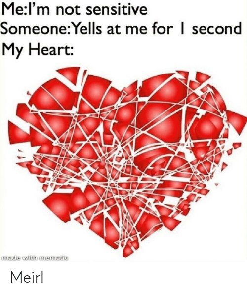 Heart, MeIRL, and Made: Me:l'm not sensitive  Someone:Yells at me for I second  My Heart:  made with mematic Meirl