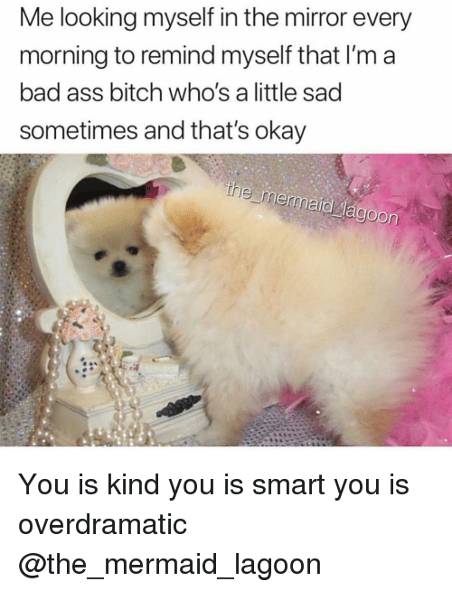 lagoon: Me looking myself in the mirror every  morning to remind myself that I'm a  bad ass bitch who's a little sad  sometimes and that's okay You is kind you is smart you is overdramatic @the_mermaid_lagoon