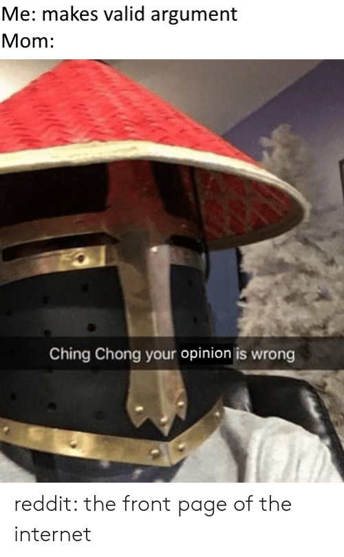 the-front-page: Me: makes valid argument  Mom:  Ching Chong your opinion is wrong reddit: the front page of the internet