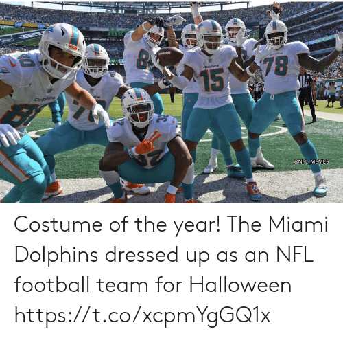 Miami Dolphins: Me  MIAS  Doline  78  Dolphins  15  Dofphins  @NFL MEMES Costume of the year! The Miami Dolphins dressed up as an NFL football team for Halloween https://t.co/xcpmYgGQ1x