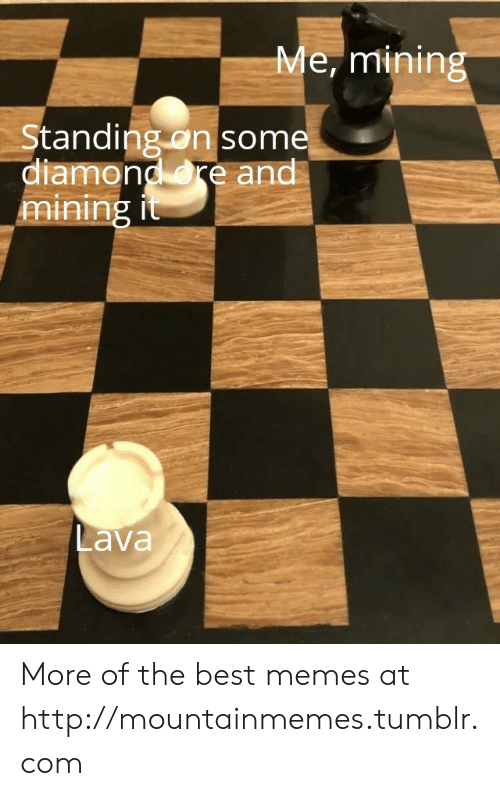 Memes, Tumblr, and Best: Me, mining  Standing on some  diamond re and  mining it  Lava More of the best memes at http://mountainmemes.tumblr.com