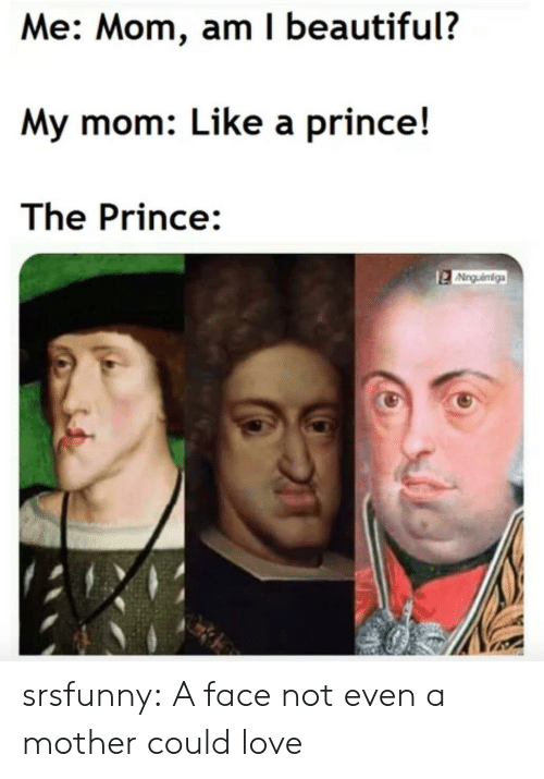 Beautiful, Love, and Prince: Me: Mom, am I beautiful?  My mom: Like a prince!  The Prince:  Ninguéniga srsfunny:  A face not even a mother could love