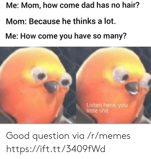 Dad, Memes, and Shit: Me: Mom, how come dad has no hair?  Mom: Because he thinks a lot  Me: How come you have so many?  Listen here, you  little shit Good question via /r/memes https://ift.tt/3409fWd