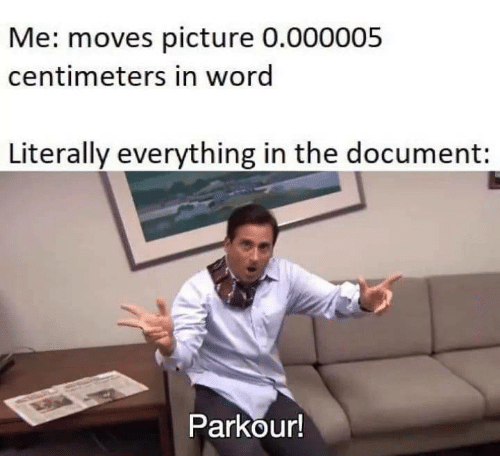 Parkour: Me: moves picture 0.000005  centimeters in word  Literally everything in the document:  Parkour!