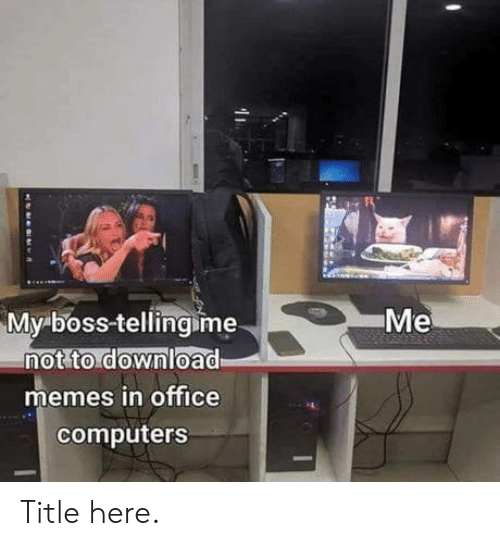 my boss: Me  My boss-tellingime  not to download  memes in office  computers Title here.