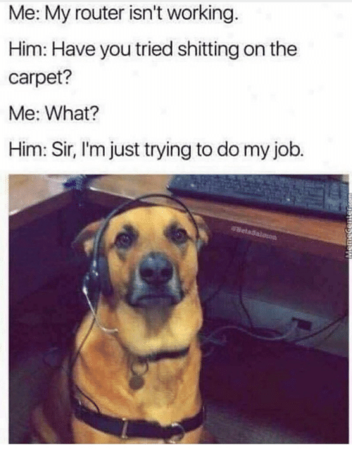 Router, Job, and Working: Me: My router isn't working.  Him: Have you tried shitting on the  carpet?  Me: What?  Him: Sir, l'm just trying to do my job.
