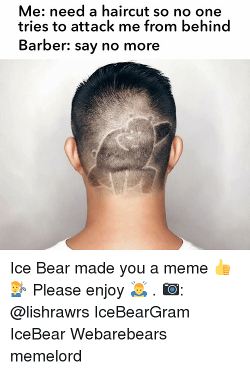 Barber Say No More: Me: need a haircut so no one  tries to attack me from behind  Barber: say no more Ice Bear made you a meme 👍💇‍♂️ Please enjoy 🙇 . 📷: @lishrawrs IceBearGram IceBear Webarebears memelord