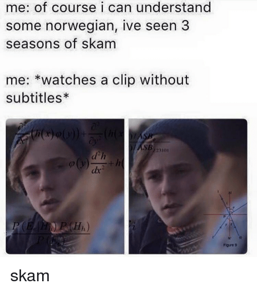 Subtitle: me: of course i can understand  some norwegian, ive seen 3  seasons of skam  me  watches a clip without  subtitles*  23101 skam