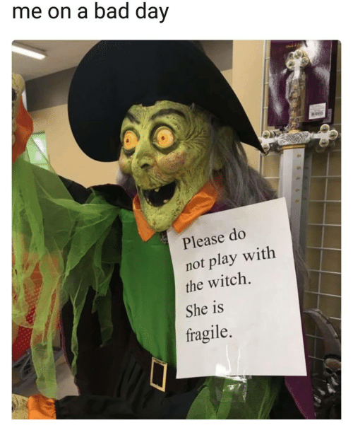 do not play: me on a bad dav  Please do  not play with  the witch.  She is  fragile.