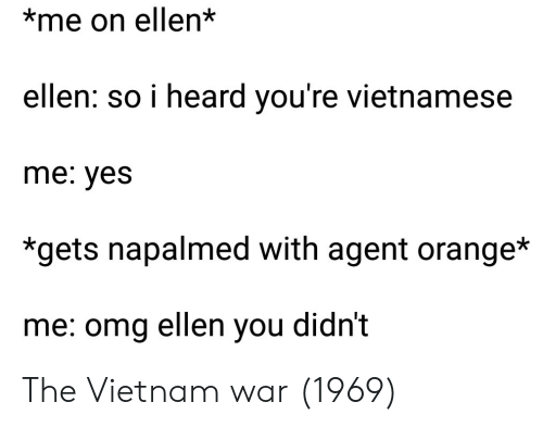 Vietnamese: *me on ellen*  ellen: so i heard you're vietnamese  me: yes  *gets napalmed with agent orange*  me: omg ellen you didn't The Vietnam war (1969)