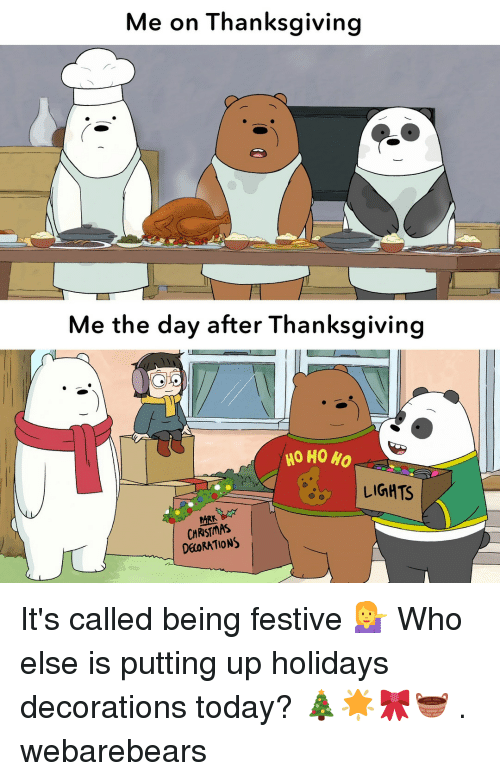 ho ho ho: Me on Thanksgiving  Me the day after Thanksgiving  HO HO HO  LIGHTS  ARK  CHRISTMAS  DEORATIONS It's called being festive 💁 Who else is putting up holidays decorations today? 🎄🌟🎀🧺 . webarebears