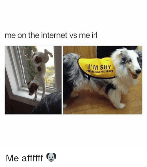 cme: me on the internet vs me irl  I'M SHY  PLEASE CME ME SPACE Me affffff 🐶