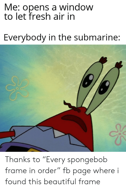 """submarine: Me: opens a window  to let fresh air in  Everybody in the submarine: Thanks to """"Every spongebob frame in order"""" fb page where i found this beautiful frame"""