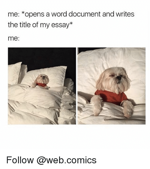 Web Comics: me: opens a word document and writes  the title of my essay  me: Follow @web.comics