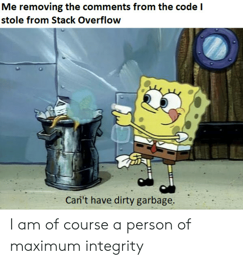 Integrity: Me removing the comments from the code  stole from Stack Overflow  Cari't have dirty garbage. I am of course a person of maximum integrity
