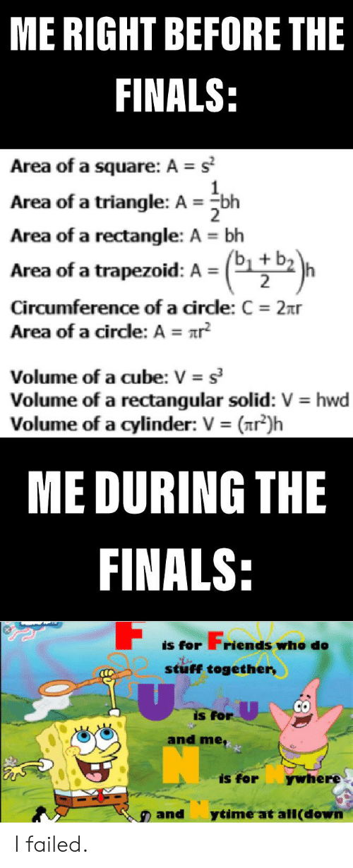 Finals, Reddit, and Square: ME RIGHT BEFORE THE  FINALS:  Area of a square: A s  Area of a triangle: A bh  Area of a rectangle: A bh  2  Area of a trapezoid: A = (1+ b2  Circumference of a cirdle: C 2xr  Area of a circle: A = r  2  s  Volume of a cube: V  Volume of a rectangular solid: V hwd  Volume of a cylinder: V (nr)h  ME DURING THE  FINALS:  Frien  riends whe de  is for  stuff together,  is for  and me,  is for  ywhere  ytime at all(down  and  8 I failed.