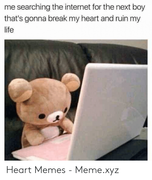 Internet, Life, and Meme: me searching the internet for the next boy  that's gonna break my heart and ruin my  life Heart Memes - Meme.xyz