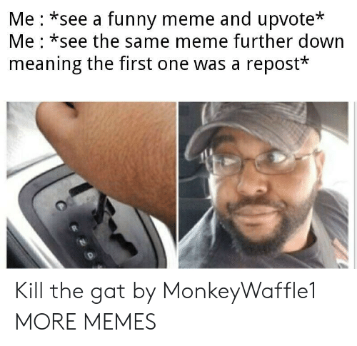 Dank, Funny, and Meme: Me *see a funny meme and upvote*  Me *see the same meme further down  meaning the first one was a repost* Kill the gat by MonkeyWaffle1 MORE MEMES