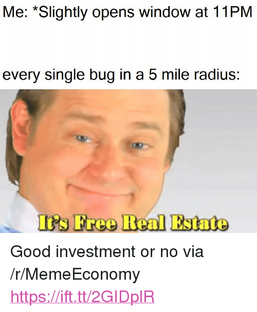 """Good, Real Estate, and Single: Me: *Slightly opens window at 11PM  every single bug in a 5 mile radius  I's Freo Real Estate <p>Good investment or no via /r/MemeEconomy <a href=""""https://ift.tt/2GIDplR"""">https://ift.tt/2GIDplR</a></p>"""