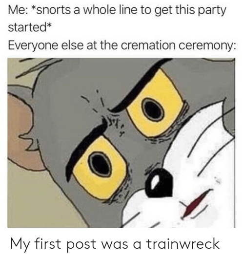 Party, First, and Cremation: Me: *snorts a whole line to get this party  started*  Everyone else at the cremation ceremony: My first post was a trainwreck