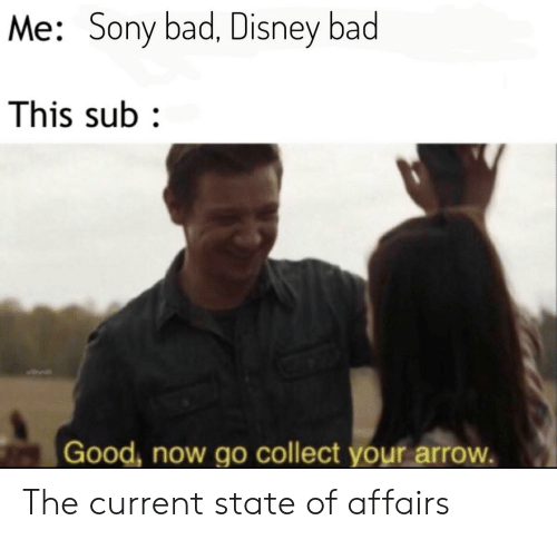 Bad, Disney, and Sony: Me: Sony bad, Disney bad  This sub  Good, now go collect your arrow. The current state of affairs