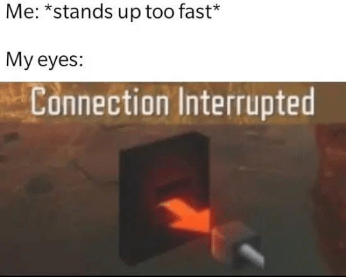 Memes, 🤖, and Fast: Me: *stands up too fast*  My eyes:  Connection Interrupted