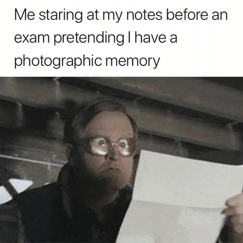 Memory, Notes, and Staring: Me staring at my notes before an  exam pretending l have a  photographic memory