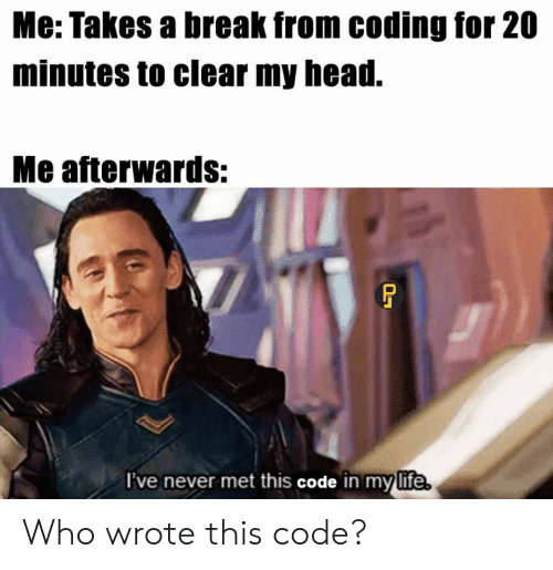 20 Minutes: Me: Takes a break from coding for 20  minutes to clear my head.  Me afterwards:  I've never met this code in my life Who wrote this code?